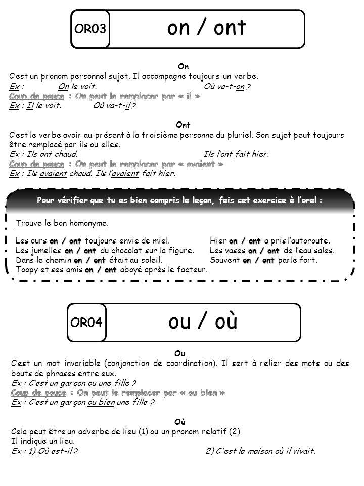 OR03 on / ont Pour vérifier que tu as bien compris la leçon, fais cet exercice à loral : Trouve le bon homonyme. on / ont on / ont Les ours on / ont t