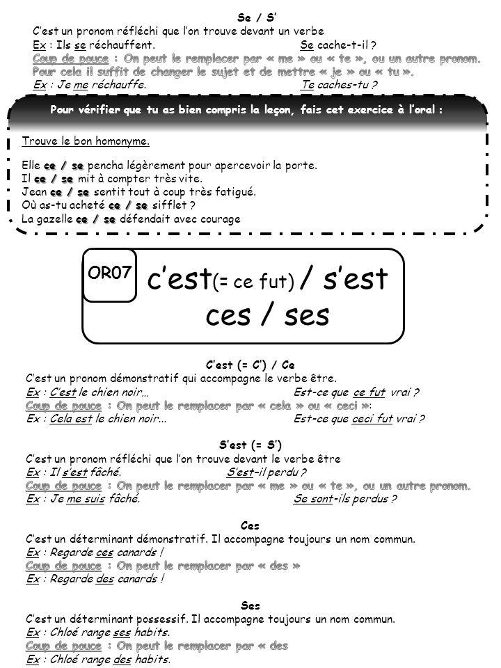OR07 cest (= ce fut) / sest ces / ses Pour vérifier que tu as bien compris la leçon, fais cet exercice à loral : Trouve le bon homonyme. ce / se Elle