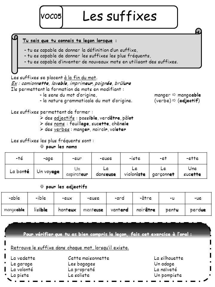 Les suffixes se placent à la fin du mot. Ex : camionnette, lavable, imprimeur, poignée, brûlure Ils permettent la formation de mots en modifiant : - l