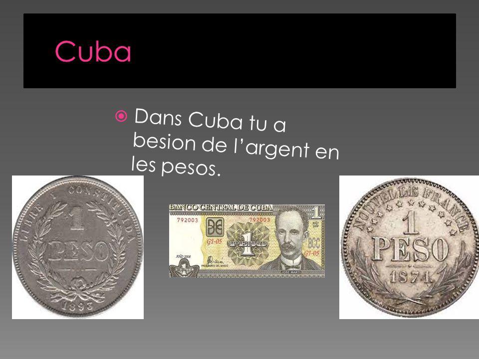 Dans Cuba tu a besion de largent en les pesos.