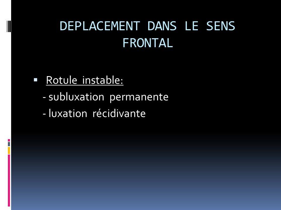 DEPLACEMENT DANS LE SENS FRONTAL Rotule instable: - subluxation permanente - luxation récidivante