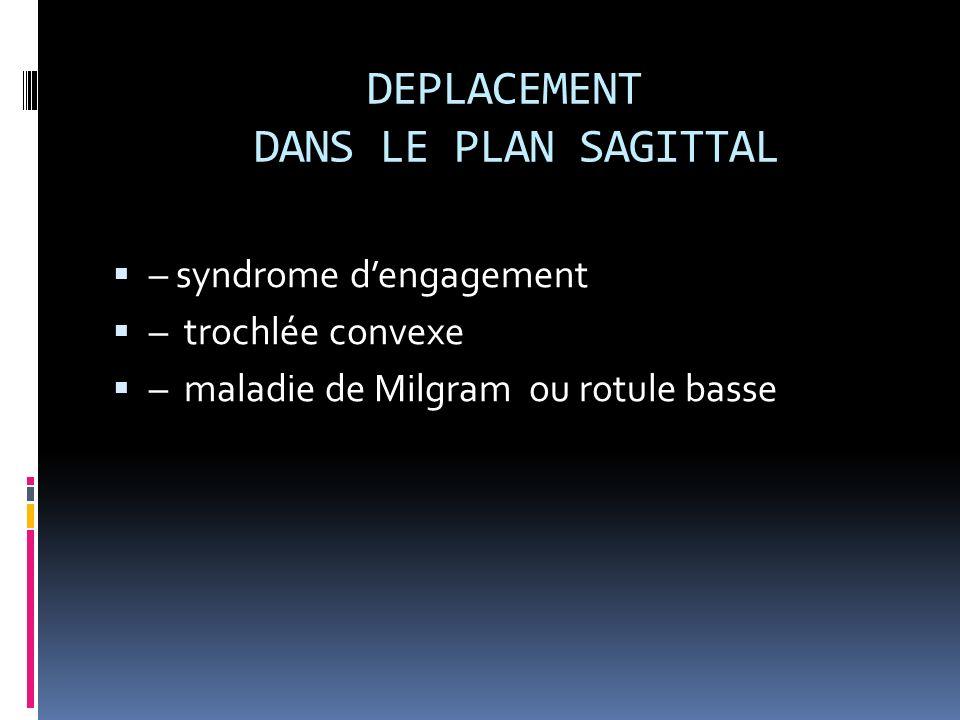 DEPLACEMENT DANS LE PLAN SAGITTAL – syndrome dengagement – trochlée convexe – maladie de Milgram ou rotule basse