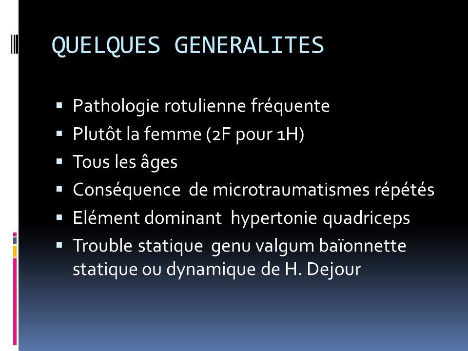 QUELQUES GENERALITES Pathologie rotulienne fréquente Plutôt la femme (2F pour 1H) Tous les âges Conséquence de microtraumatismes répétés Elément domin