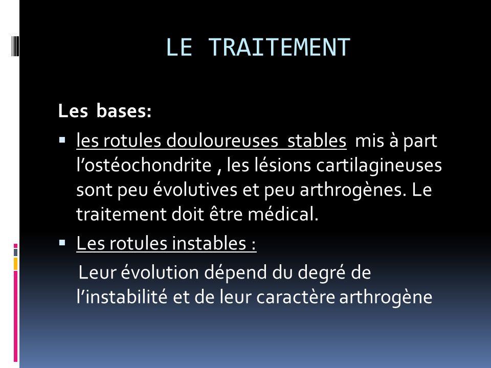 LE TRAITEMENT Les bases: les rotules douloureuses stables mis à part lostéochondrite, les lésions cartilagineuses sont peu évolutives et peu arthrogèn
