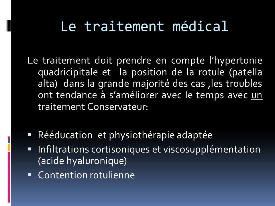 Le traitement médical Le traitement doit prendre en compte lhypertonie quadricipitale et la position de la rotule (patella alta) dans la grande majori