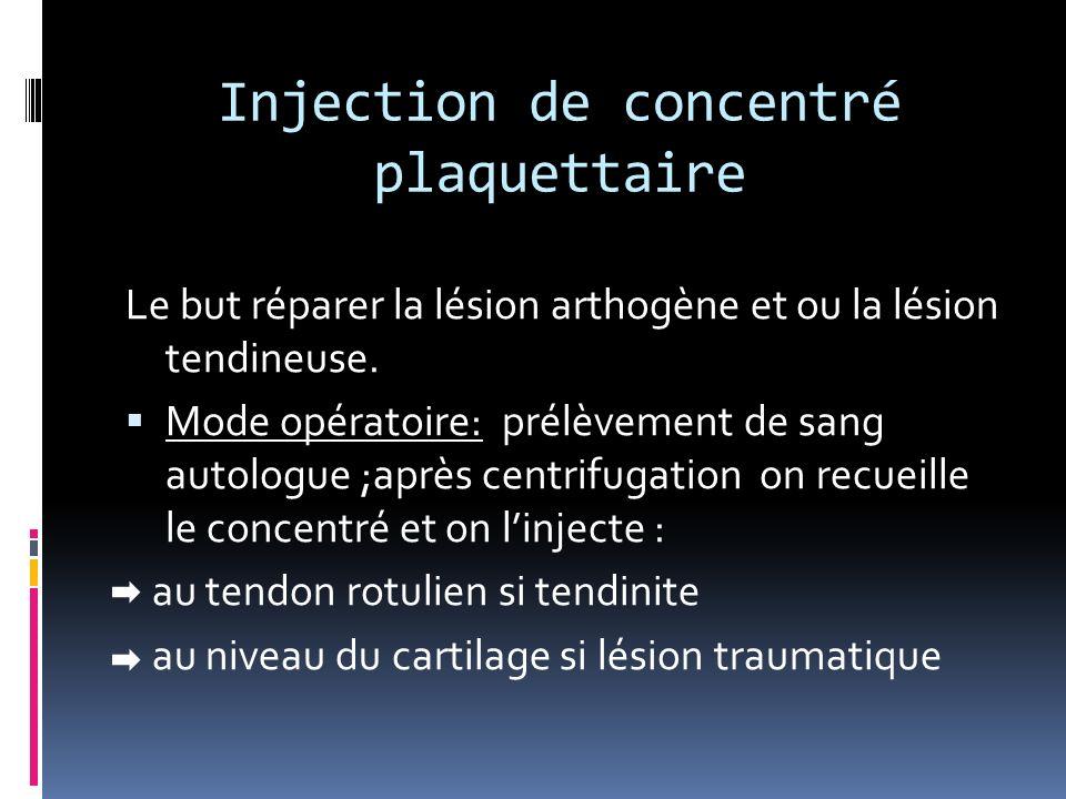 Injection de concentré plaquettaire Le but réparer la lésion arthogène et ou la lésion tendineuse. Mode opératoire: prélèvement de sang autologue ;apr