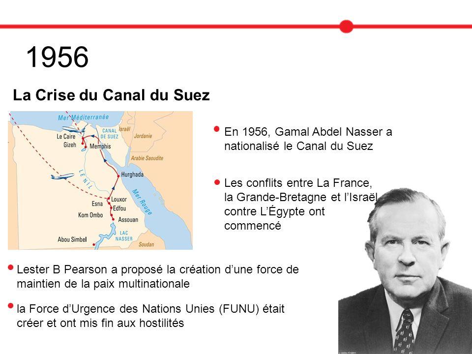 1956 La Crise du Canal du Suez En 1956, Gamal Abdel Nasser a nationalisé le Canal du Suez Les conflits entre La France, la Grande-Bretagne et lIsraël