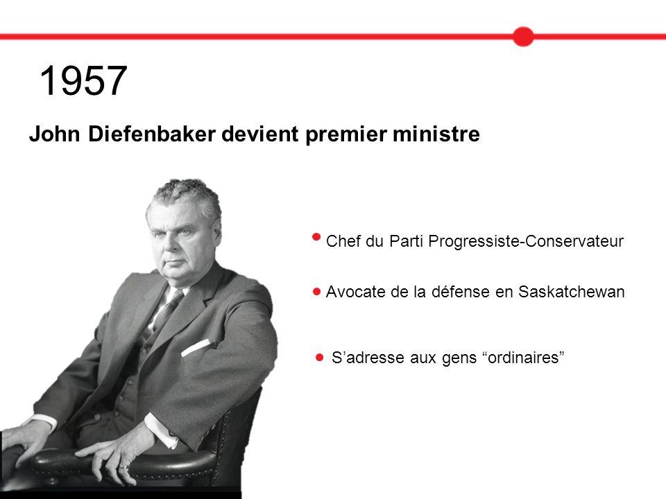 1957 John Diefenbaker devient premier ministre Chef du Parti Progressiste-Conservateur Avocate de la défense en Saskatchewan Sadresse aux gens ordinai