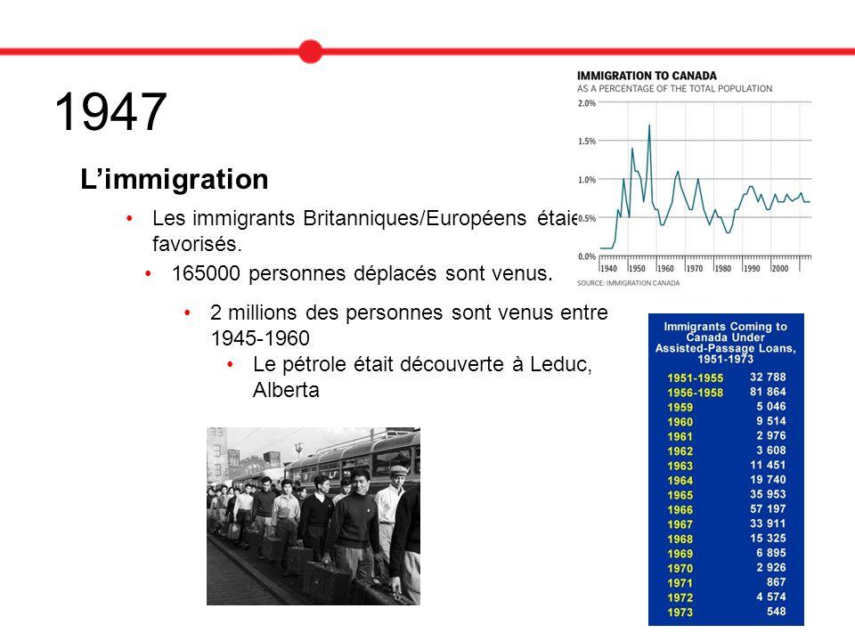 1947 Limmigration Les immigrants Britanniques/Européens étaient favorisés. 165000 personnes déplacés sont venus. 2 millions des personnes sont venus e