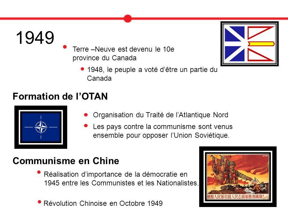 1949 Terre –Neuve est devenu le 10e province du Canada 1948, le peuple a voté dêtre un partie du Canada Formation de lOTAN Organisation du Traité de l