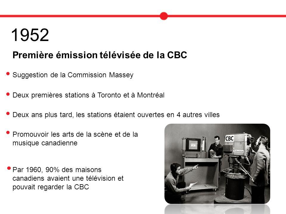 1952 Première émission télévisée de la CBC Suggestion de la Commission Massey Deux premières stations à Toronto et à Montréal Deux ans plus tard, les