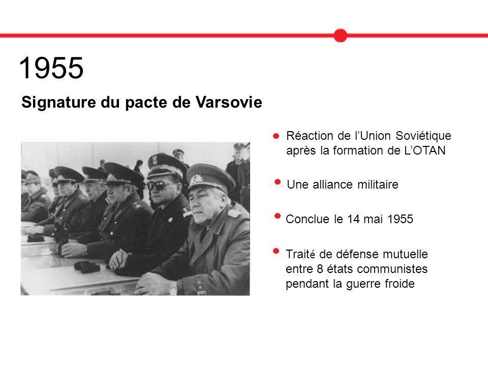 1955 Signature du pacte de Varsovie Une alliance militaire Conclue le 14 mai 1955 Trait é de défense mutuelle entre 8 états communistes pendant la gue