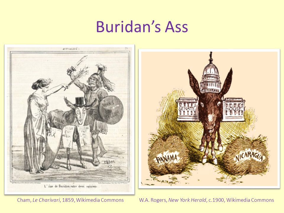 Buridans Ass W.A. Rogers, New York Herald, c.1900, Wikimedia CommonsCham, Le Charivari, 1859, Wikimedia Commons