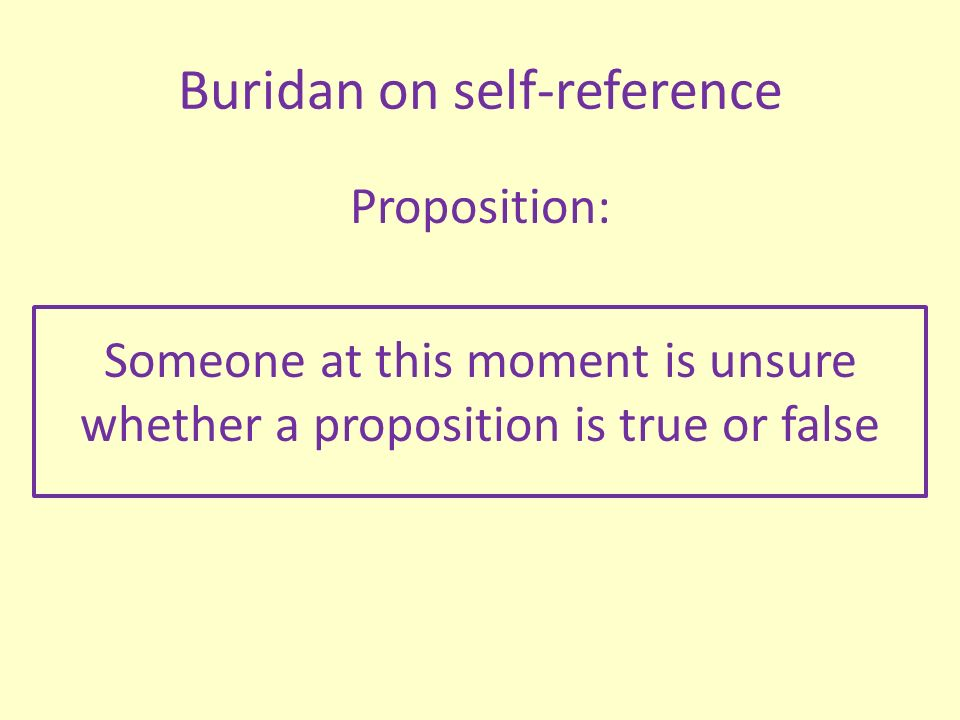 Buridan on self-reference Proposition: Someone at this moment is unsure whether a proposition is true or false