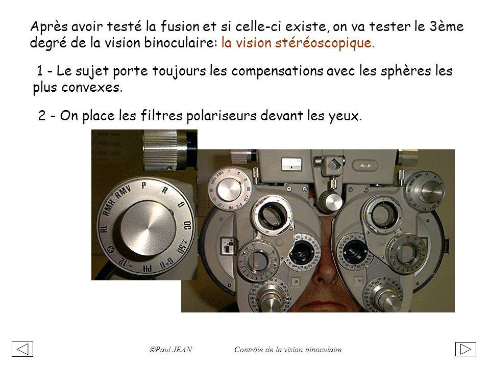 Paul JEAN Contrôle de la vision binoculaire Après avoir testé la fusion et si celle-ci existe, on va tester le 3ème degré de la vision binoculaire: la