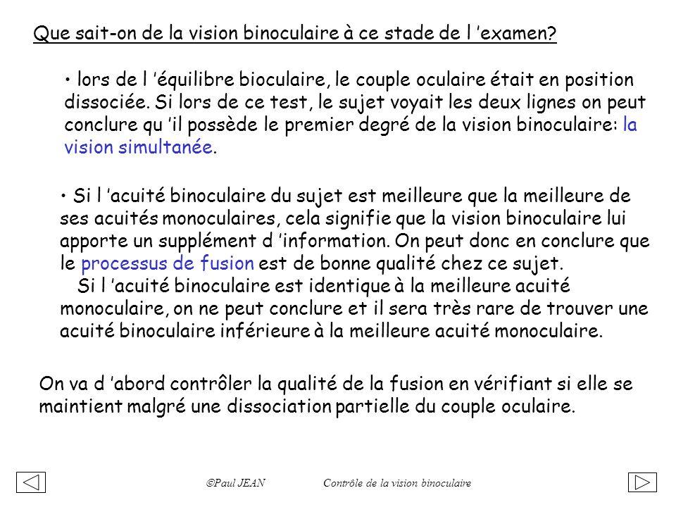 Que sait-on de la vision binoculaire à ce stade de l examen? lors de l équilibre bioculaire, le couple oculaire était en position dissociée. Si lors d
