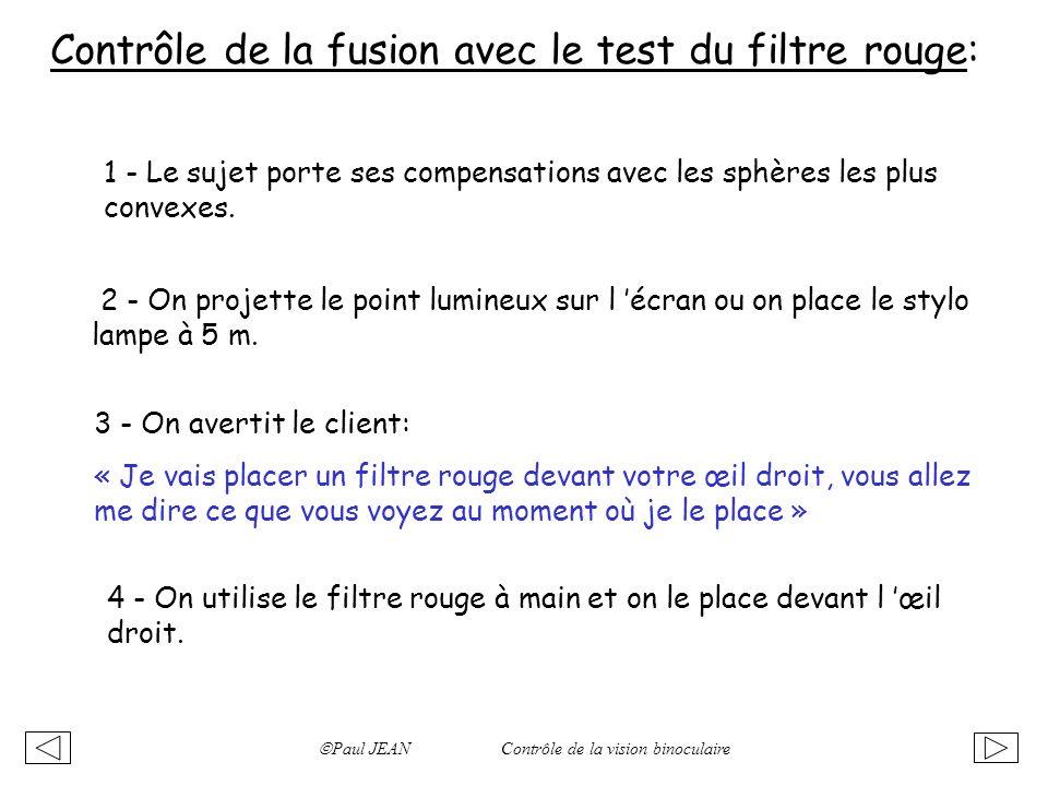 Contrôle de la fusion avec le test du filtre rouge: 1 - Le sujet porte ses compensations avec les sphères les plus convexes. 2 - On projette le point