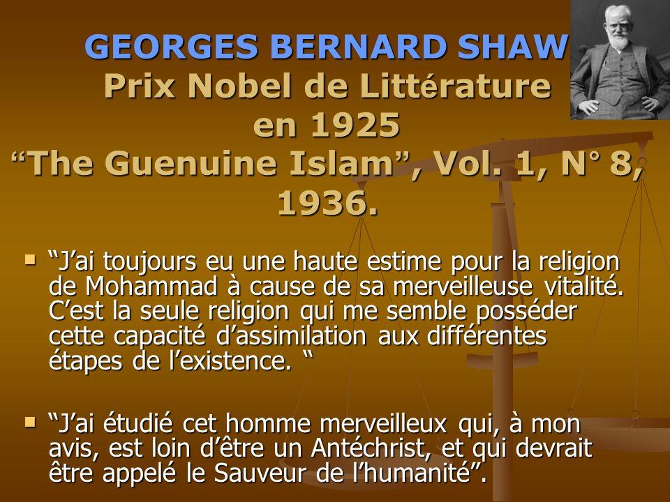 GEORGES GEORGES BERNARD SHAW Prix Nobel de Litt é rature en 1925 The The Guenuine Islam, Islam, Vol.