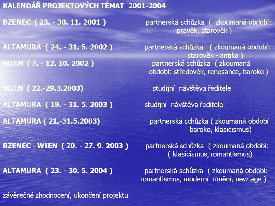 KALENDÁŘ PROJEKTOVÝCH TÉMAT 2001-2004 BZENEC ( 23. - 30. 11. 2001 ) partnerská schůzka ( zkoumaná období: pravěk, starověk ) ALTAMURA ( 24. - 31. 5. 2