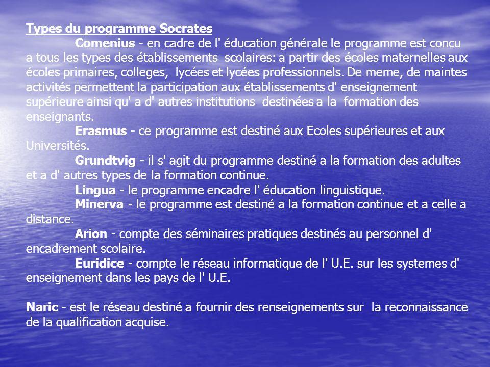 Types du programme Socrates Comenius - en cadre de l' éducation générale le programme est concu a tous les types des établissements scolaires: a parti