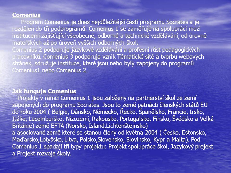 Comenius Program Comenius je dnes nejdůležitější částí programu Socrates a je rozdělen do tří podprogramů. Comenius 1 se zaměřuje na spolupráci mezi i