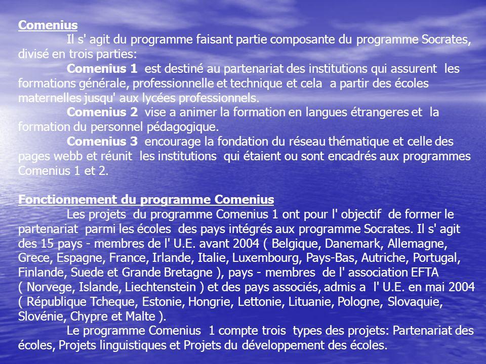 Comenius Il s' agit du programme faisant partie composante du programme Socrates, divisé en trois parties: Comenius 1 est destiné au partenariat des i