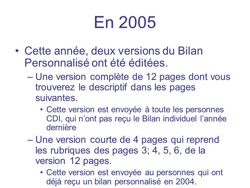 En 2005 Cette année, deux versions du Bilan Personnalisé ont été éditées. –Une version complète de 12 pages dont vous trouverez le descriptif dans les