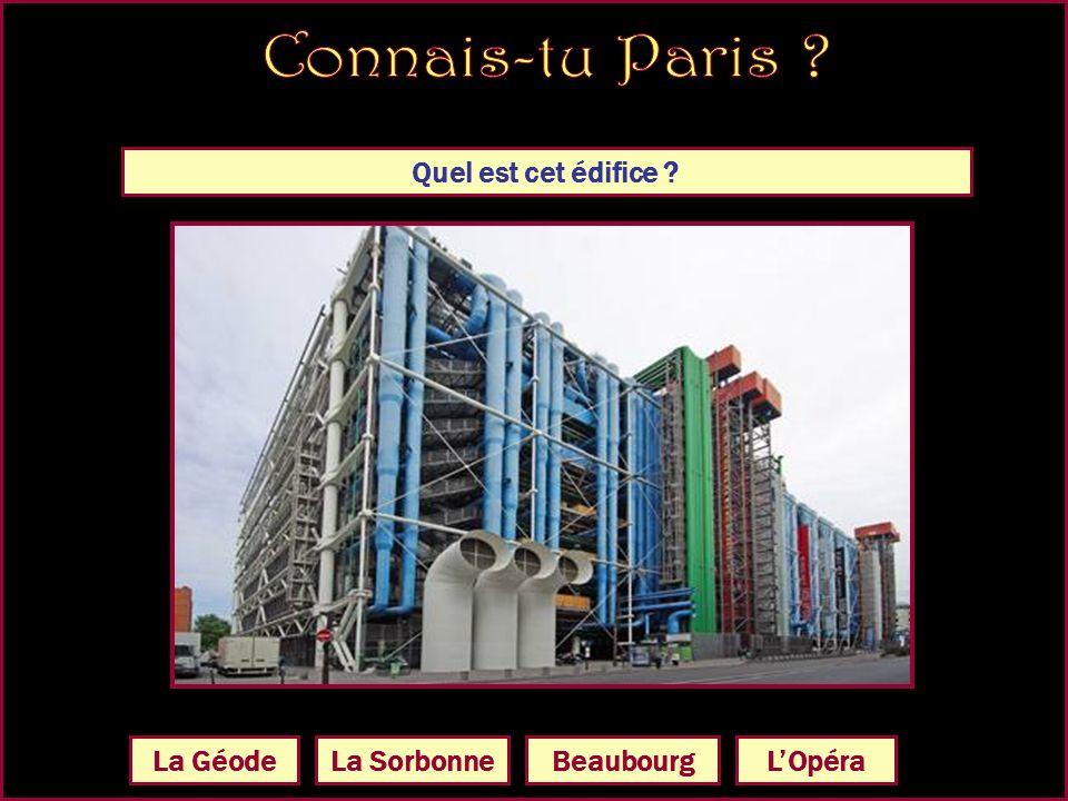 Quel est cet édifice Le Forum des Halles Le Musée dOrsay Le centre Beaubourg LOpéra Garnier