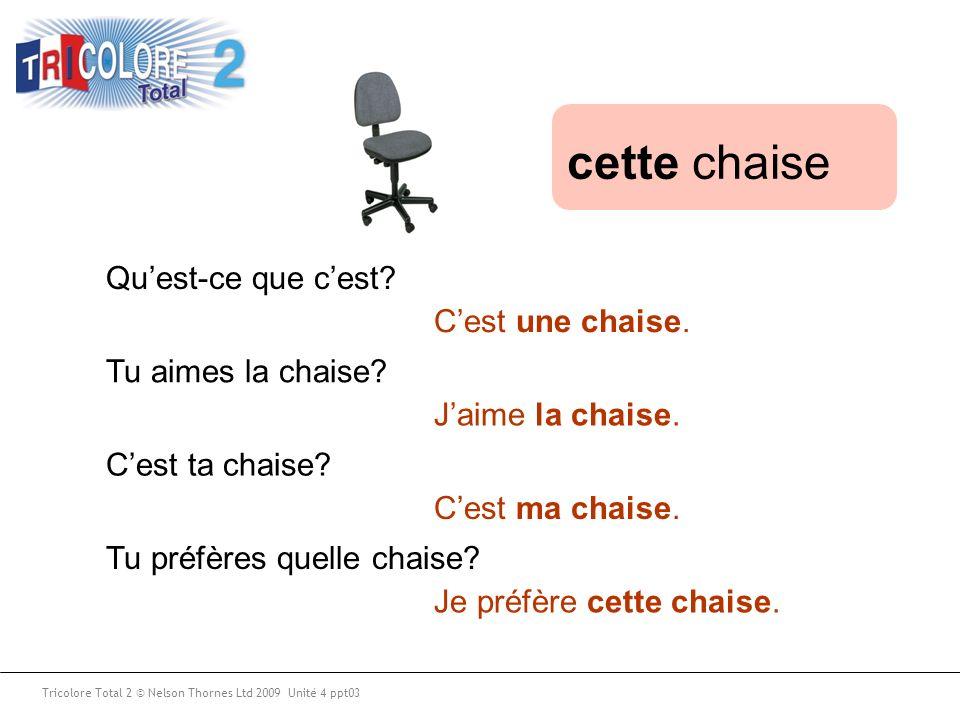 Tu aimes la chaise? Tu préfères quelle chaise? Quest-ce que cest? Cest ta chaise? Jaime la chaise. Je préfère cette chaise. Cest une chaise. Cest ma c