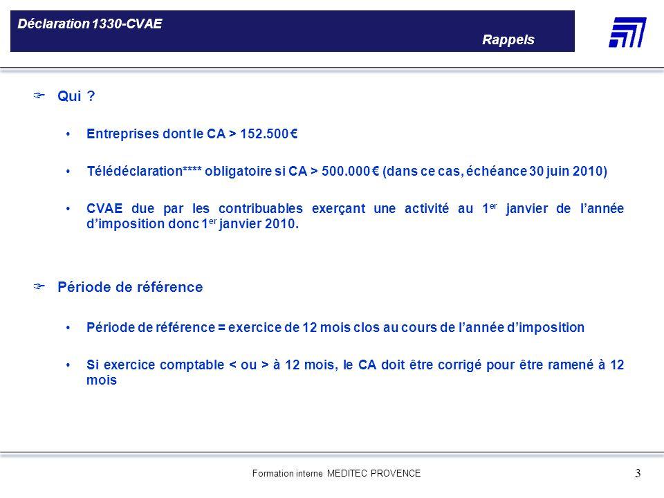 Formation interne MEDITEC PROVENCE 3 Déclaration 1330-CVAE Rappels 5 000 références produits Une gamme de 5 000 références produits Le choix des produ