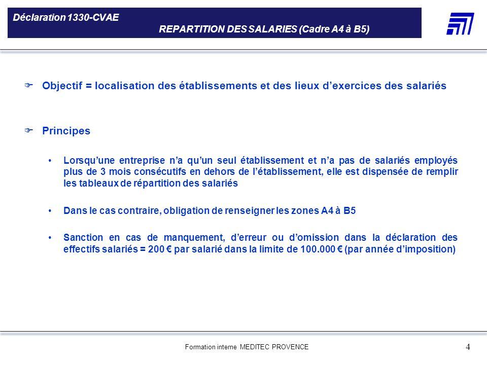 Formation interne MEDITEC PROVENCE 4 Déclaration 1330-CVAE REPARTITION DES SALARIES (Cadre A4 à B5) 5 000 références produits Une gamme de 5 000 référ