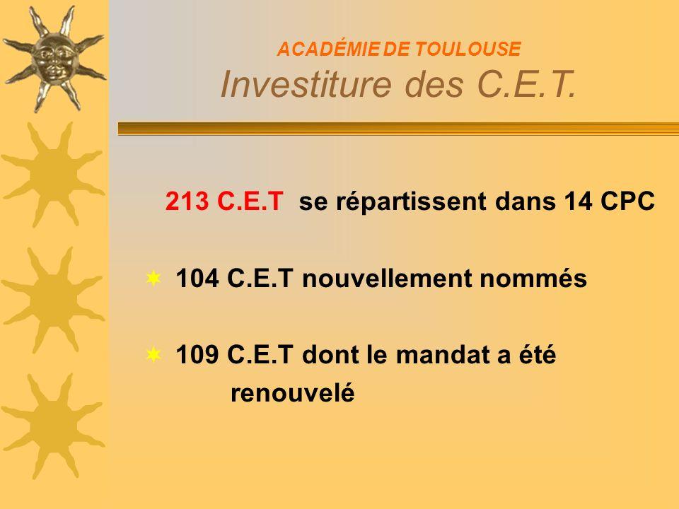 213 C.E.T se répartissent dans 14 CPC 104 C.E.T nouvellement nommés 109 C.E.T dont le mandat a été renouvelé ACADÉMIE DE TOULOUSE Investiture des C.E.T.