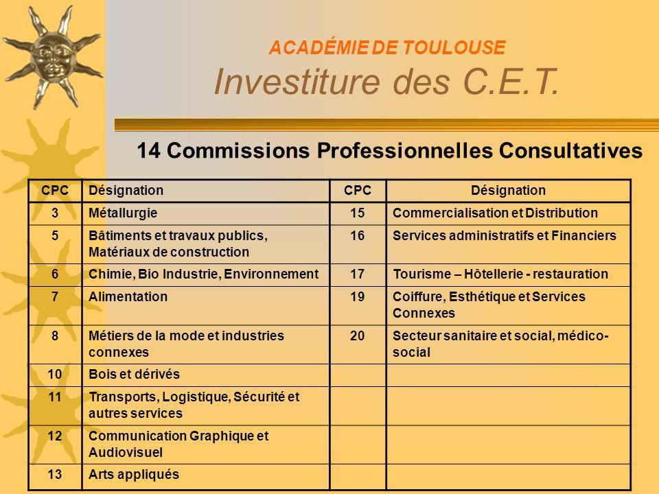 14 Commissions Professionnelles Consultatives ACADÉMIE DE TOULOUSE Investiture des C.E.T.