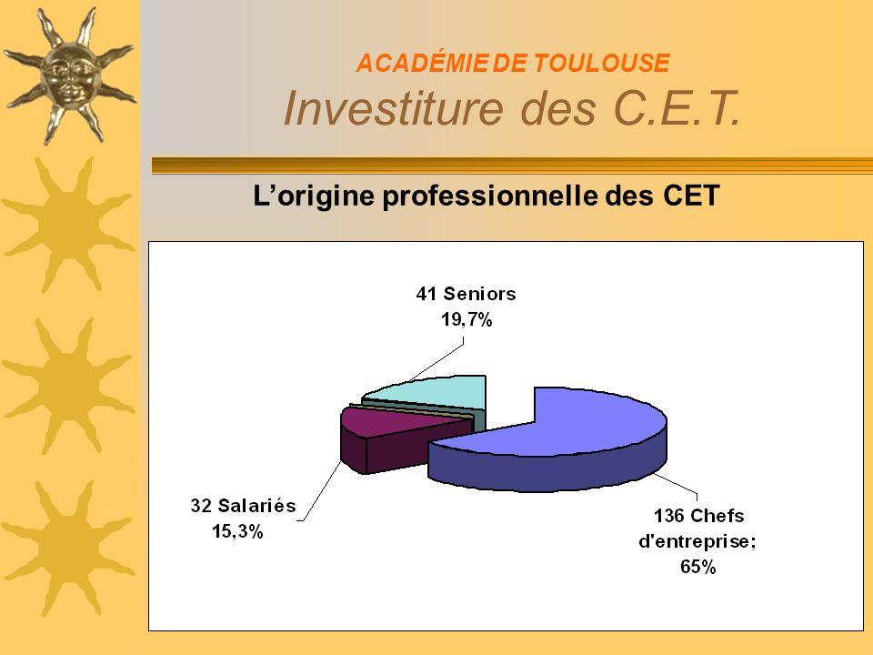 Lorigine professionnelle des CET ACADÉMIE DE TOULOUSE Investiture des C.E.T.