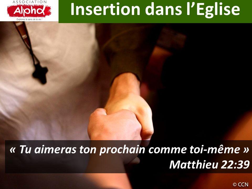 Insertion dans lEglise « Tu aimeras ton prochain comme toi-même » Matthieu 22:39