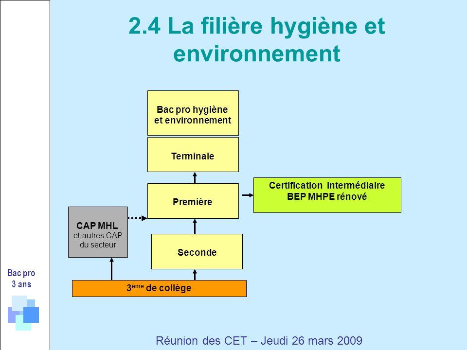 Bac pro 3 ans Réunion des CET – Jeudi 26 mars 2009 3 ème de collège Certification intermédiaire BEP MHPE rénové Seconde Première Terminale CAP MHL et autres CAP du secteur Bac pro hygiène et environnement 2.4 La filière hygiène et environnement