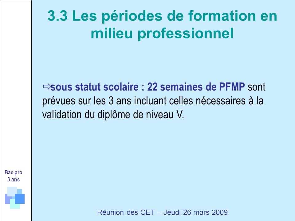 sous statut scolaire : 22 semaines de PFMP sont prévues sur les 3 ans incluant celles nécessaires à la validation du diplôme de niveau V.