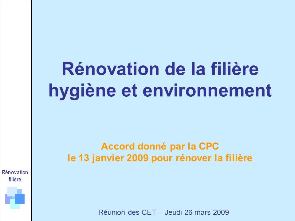 Rénovation filière Réunion des CET – Jeudi 26 mars 2009 Rénovation de la filière hygiène et environnement Accord donné par la CPC le 13 janvier 2009 pour rénover la filière