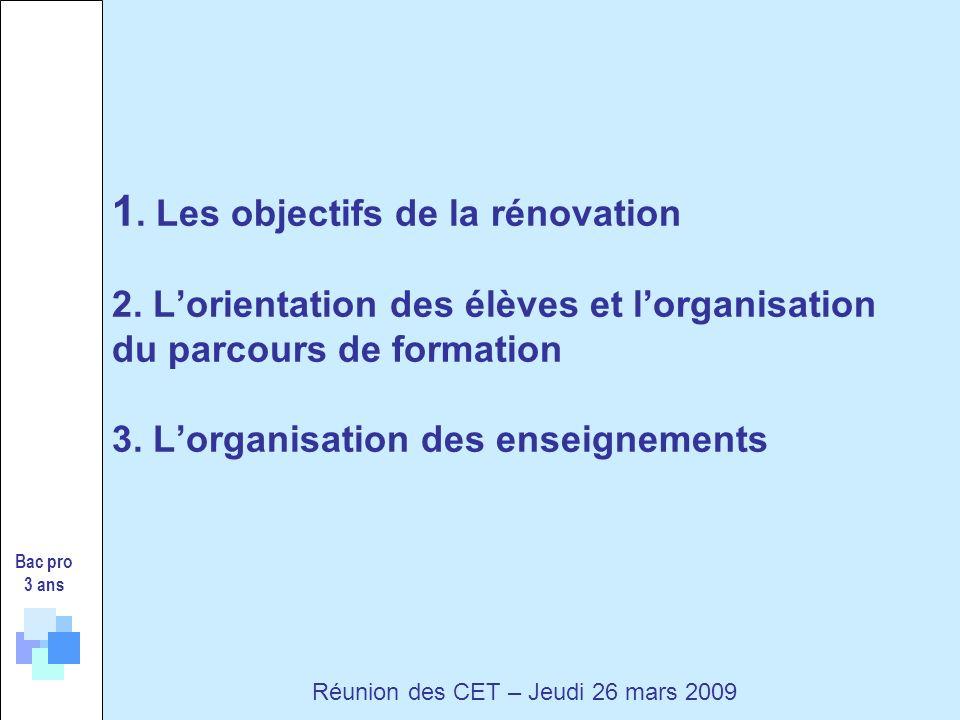 Bac pro 3 ans Réunion des CET – Jeudi 26 mars 2009 1.