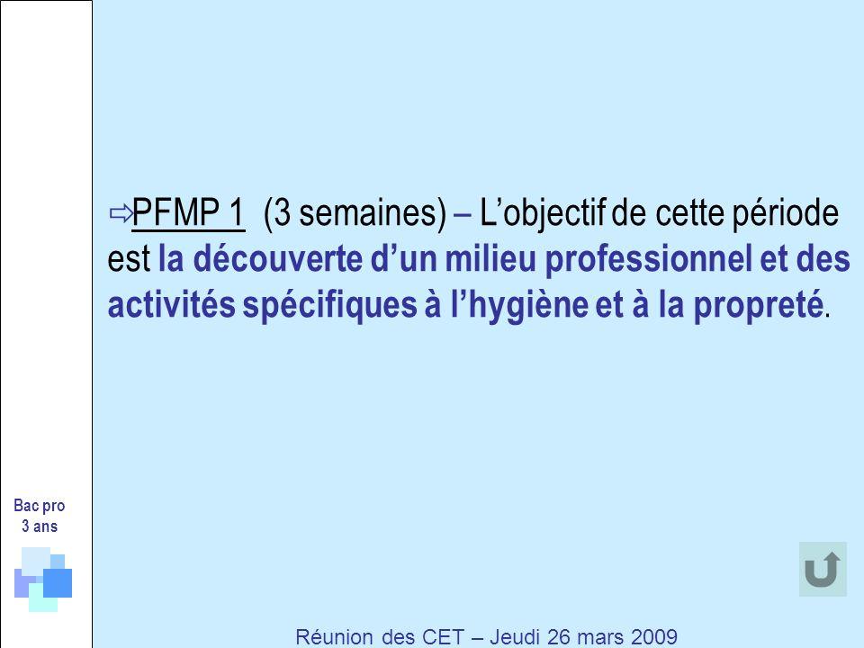 PFMP 1 (3 semaines) – Lobjectif de cette période est la découverte dun milieu professionnel et des activités spécifiques à lhygiène et à la propreté.
