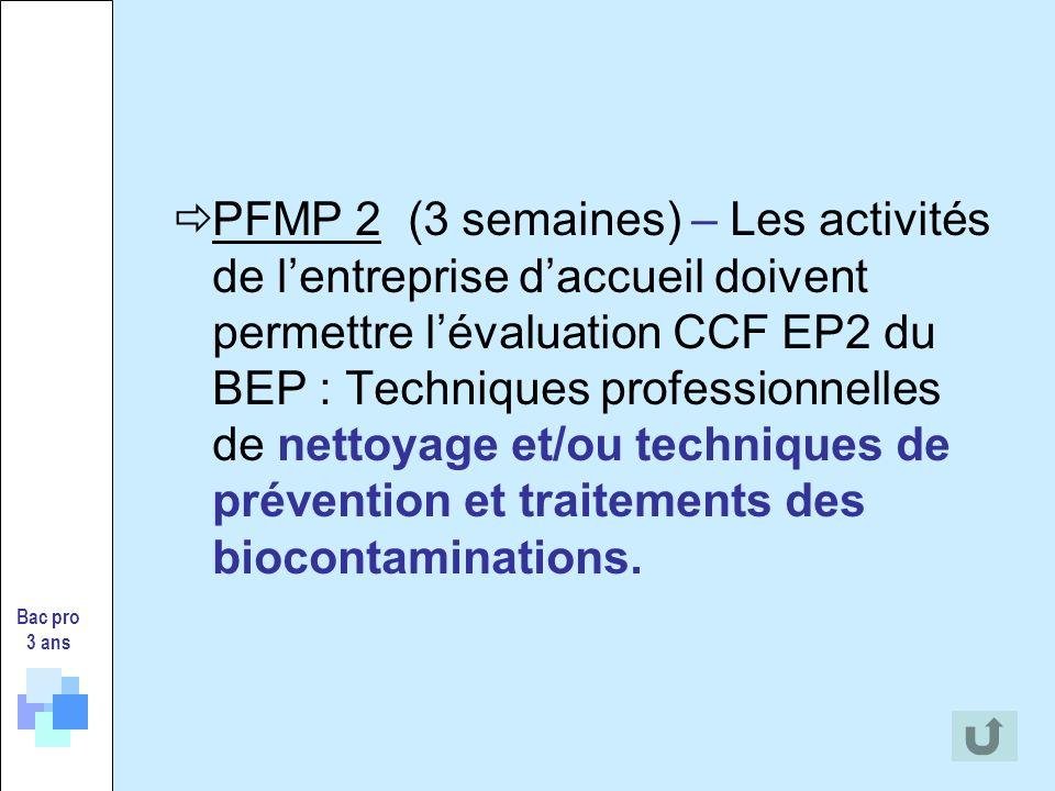 PFMP 2 (3 semaines) – Les activités de lentreprise daccueil doivent permettre lévaluation CCF EP2 du BEP : Techniques professionnelles de nettoyage et/ou techniques de prévention et traitements des biocontaminations.