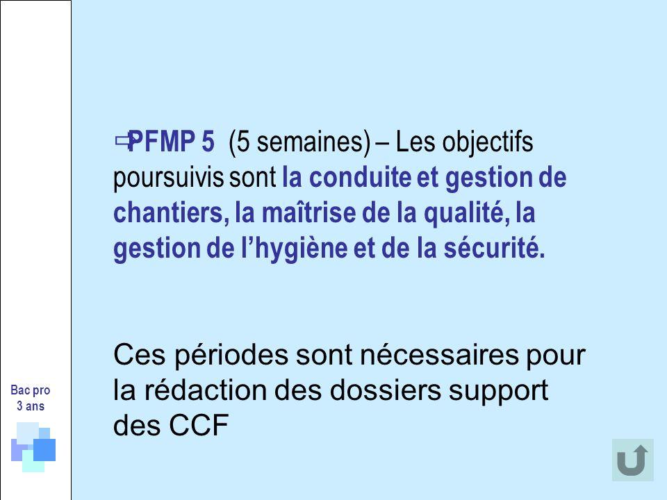Bac pro 3 ans PFMP 5 (5 semaines) – Les objectifs poursuivis sont la conduite et gestion de chantiers, la maîtrise de la qualité, la gestion de lhygiène et de la sécurité.