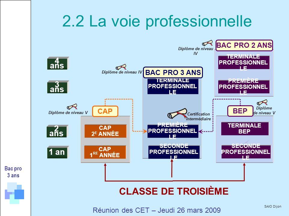 4 ans 3 ans 2 ans 1 an CAP 1 RE ANNÉE CAP 2 E ANNÉE SECONDE PROFESSIONNEL LE PREMIÈRE PROFESSIONNEL LE TERMINALE PROFESSIONNEL LE SECONDE PROFESSIONNEL LE TERMINALE BEP TERMINALE PROFESSIONNEL LE PREMIÈRE PROFESSIONNEL LE BAC PRO 3 ANS BEP CAP BAC PRO 2 ANS Diplôme de niveau V Diplôme de niveau IV CLASSE DE TROISIÈME Diplôme de niveau V Diplôme de niveau IV Bac pro 3 ans Certification intermédiaire SAIO Dijon Réunion des CET – Jeudi 26 mars 2009 2.2 La voie professionnelle