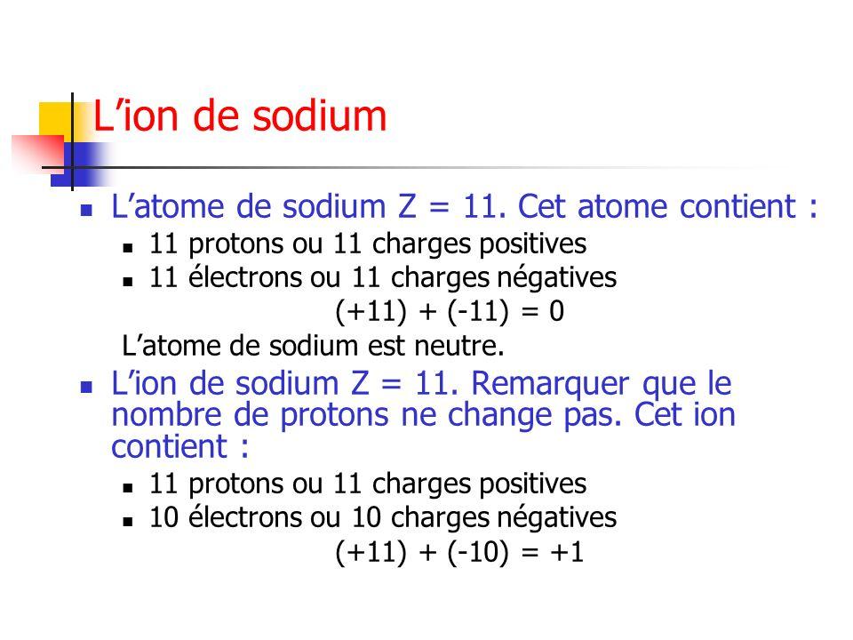 Lion de sodium Latome de sodium Z = 11. Cet atome contient : 11 protons ou 11 charges positives 11 électrons ou 11 charges négatives (+11) + (-11) = 0