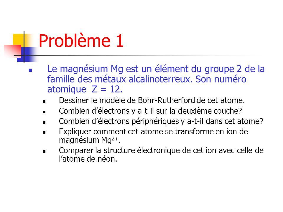 Problème 1 Le magnésium Mg est un élément du groupe 2 de la famille des métaux alcalinoterreux. Son numéro atomique Z = 12. Dessiner le modèle de Bohr