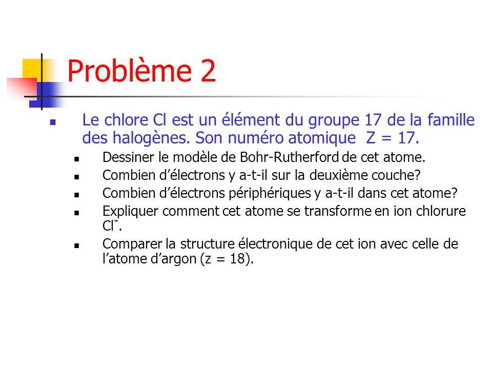 Problème 2 Le chlore Cl est un élément du groupe 17 de la famille des halogènes. Son numéro atomique Z = 17. Dessiner le modèle de Bohr-Rutherford de