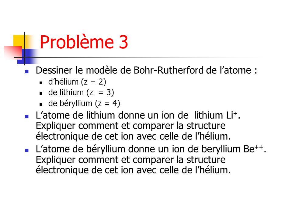 Problème 3 Dessiner le modèle de Bohr-Rutherford de latome : dhélium (z = 2) de lithium (z = 3) de béryllium (z = 4) Latome de lithium donne un ion de