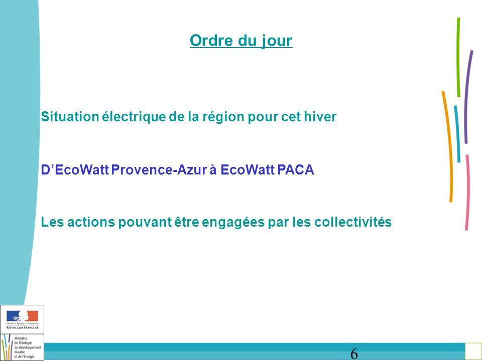 7 DEcoWatt Provence-Azur à EcoWatt PACA Un système dalerte via internet Une campagne de sensibilisation via le site http://www.ecowatt- paca.fr/ Une possibilité dinscription groupée aux alertes, Des alertes envoyées par mail, SMS, appli smartphone, Des gestes déconomie dénergie à pratiquer le soir entre 18h et 20h, Les alertes EcoWatt sont déclenchées lors des journées de forte consommation délectricité, en hiver.