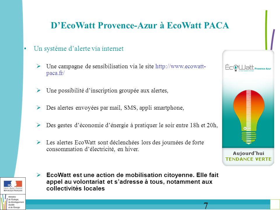 8 DEcoWatt Provence-Azur à EcoWatt PACA Modérer la consommation délectricité pour éviter la coupure Outre les actions visant à inciter au développement de la production locale dénergie et à renforcer le réseau, la maîtrise de la consommation délectricité est essentielle pour répondre aux enjeux de sécurisation électrique et de transition énergétique de la région La démarche EcoWatt, initiée en 2010 dans les départements du Var et des Alpes-Maritimes, vise à sensibiliser les collectivités locales, les entreprises et les particuliers aux problématiques dalimentation électrique du territoire et à les inciter à pratiquer les bons gestes énergie, notamment lors des heures de forte consommation EcoWatt est une démarche portée par RTE, en partenariat avec la préfecture de région, les Départements 06 et 83, lADEME, ERdF et la Principauté de Monaco