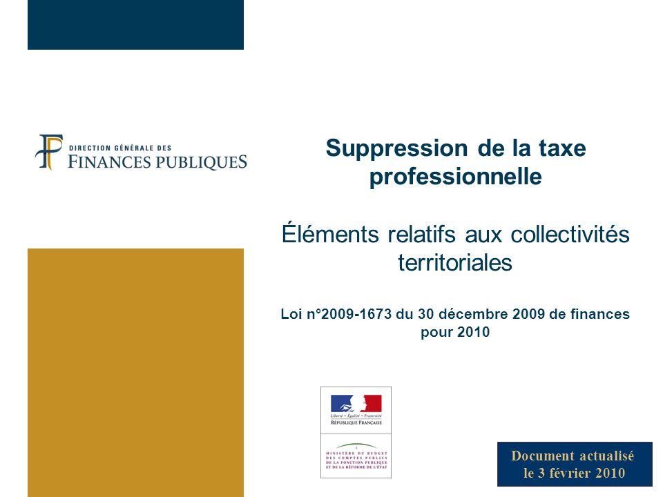 Suppression de la taxe professionnelle Éléments relatifs aux collectivités territoriales Loi n°2009-1673 du 30 décembre 2009 de finances pour 2010 Document actualisé le 3 février 2010
